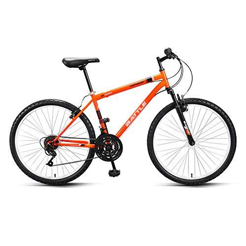 Bicicleta, Bicicleta de Carretera de 18 Velocidades, Bicicleta Deportiva HíBrida de Choque, Freno de Disco Doble, Cuadro de Acero con Alto Contenido de Carbono, para Adultos/Adolescentes