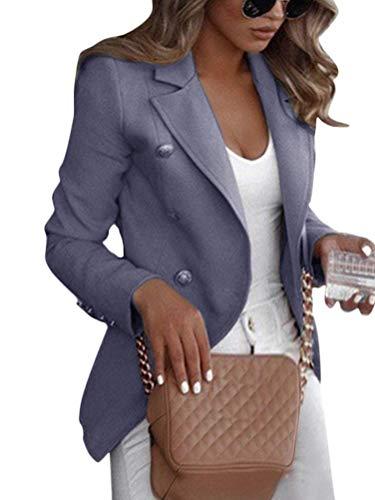 Shallood Damen Elegant Langarm Blazer Sakko Einfarbig Slim Fit Revers Geschäft Büro Jacke Kurz Mantel Anzüge Bolero Mit Knopfleiste Military Coat Blazer A Grau 34