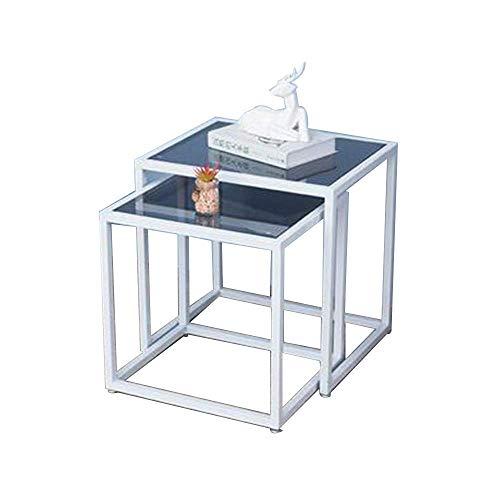 CCAN Table Tables gigognes, Table d'appoint Salon en Verre trempé Petite Table Basse Table de Chevet pour la Maison Table d'angle de Chambre à Coucher 17 & Times; 14 & Times; 17 Pouces / 19 & Times;
