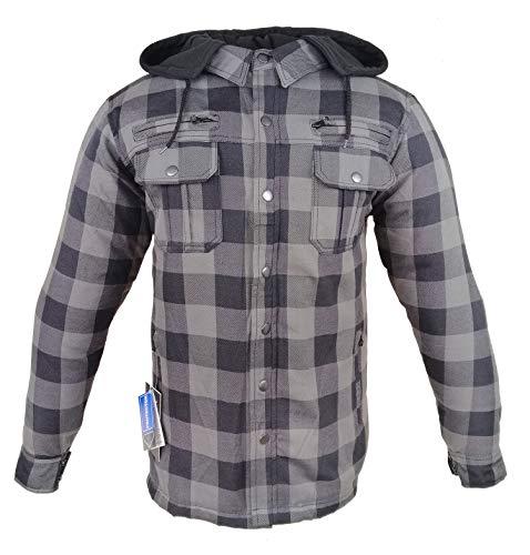 EURO STARS Motorrad- und Flanell-Holzfällerhemd mit KEV ARAMID Lumber Biker Grau Jacke Hemd (XL, Grau)