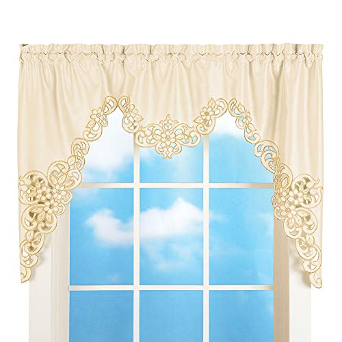"""Collections Etc Elegant Scalloped Design Cut-Out and Embroidered Scroll Window Valance with Rod Pocket Top for Easy Hanging, Cream, 58"""" X 36"""""""