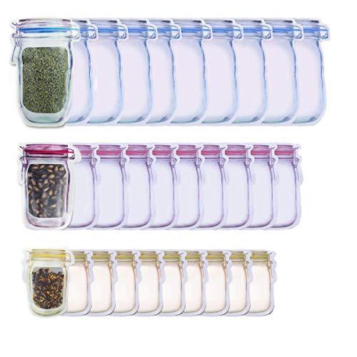 30 Pack Mason Jar Zipper Bags Food Storage Snack Ziplock Bags - Reusable Airtight Seal Food Storage Bags Leak-Proof Tea Bags Refrigerator Organizor Kitchen Storage Outdoor Travel Picnic Bags