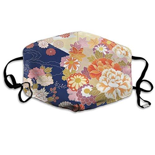 Traditionele Kimono Motieven Samenstelling Aziatische Etnische Bloemen Patronen Vintage Artwork afdrukken Mond Cover Gezicht Cover voor Volwassen Kinderen