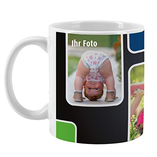 Herz & Heim® Fototasse mit verschiedenen Motiven und Wunschtextaufdruck Fotocollage
