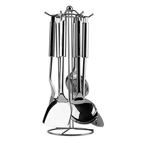 BBGSFDC Juego de 7 espátulas de cocina de acero inoxidable para el hogar, pala, cuchara, colador, cuchara de cocina, cuchara con soporte de metal, espátulas de cocina
