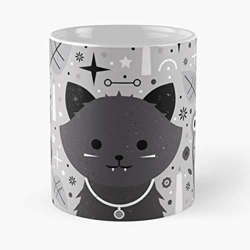 Desconocido Animal Spooky Black Baby Fang Cat Kitten Grey Halloween Taza de café con Leche 11 oz