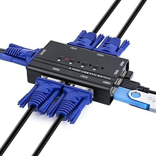 KVM Switch , USB e VGA Commutatore con 4 Cavi KVM , per PC Monitor Tastiera Mouse Scanner Stampante