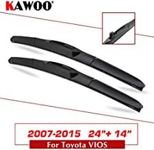 Wipers Hukcus For Toyota VIOS Fit Hook Arm Car Rubber Wiper Blade 2002 2003 2004 2005 2006 2007 2008 2009 2010 2011 2012 2013 2014 2015 - (Color: Vios 2007-2015 2414)