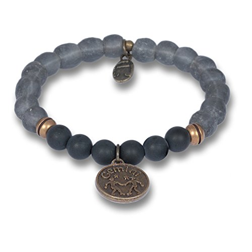 Anisch Hombre Herenarmband tweeling - Signs of Zodiac sterrenbeeld armband van onyx & krobo kralen African Soul - artnr. 4440-e