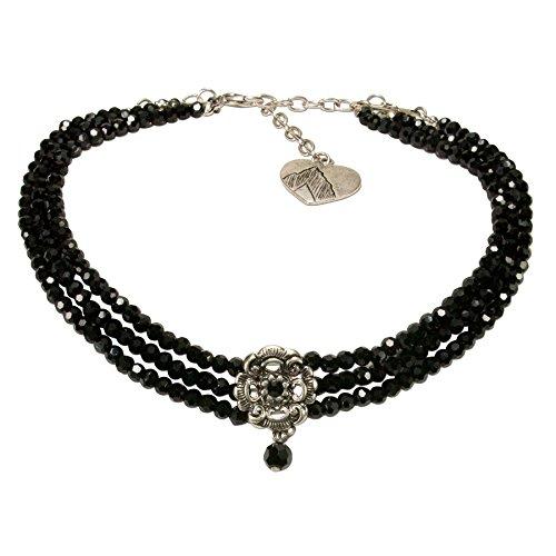 Alpenflüstern Trachten-Perlen-Kropfkette Frederike - nostalgische Trachtenkette, eleganter Damen-Trachtenschmuck, Dirndlkette schwarz DHK213