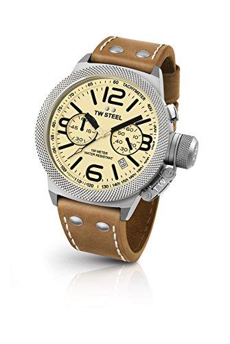 TW Steel Reloj Cronógrafo para Unisex de Cuarzo con Correa en Cuero CS13