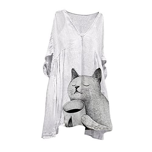 NISOWE Vestido de manga larga para mujer, cuello en V, talla grande, largo medio, estampado, Blanco, M