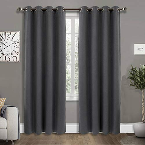 JINSIYUAN Thermal Insulated Grommet Blackout Curtain for Bedroom and Living Room 1 Panel Darkening Three Layer Blackout Draperies with Black Liner Energy Efficient Solid Color (52''W X 84''L , Grey)