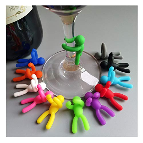 Hyde Juego de 12 marcadores de cristal reutilizables de silicona para copas de vino (estilo 3_12)