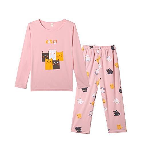 Vopmocld Young Girls Cat Pajamas Cotton Long Pjs Clothes Kids Shirts Set(Size 8-17 Years), Pink, XXL(18)=US 15-17 Years