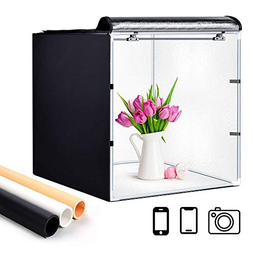 Deewin Photo Studio Light Box Portable Foldable 24 x 24 Inch Photography Shooting Tent Kit with Dimmable and Movable LED Lights,Carry Bag and 3 Color Backdrops (White Black Gold)