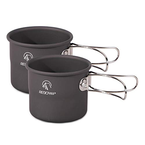 REDCAMP Aluminium Camping Cup Coffee Mug Set with Foldable Handles, 150ml Small Ultralight Backpacking Cup for Outdoor Cooking Hiking 2 PCS