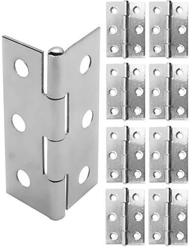 FUXXER® - 8x Edelstahl- Scharniere, Metall-Scharniere, Eisen-Scharniere, Für Schänke Schrank-Türen Truhen Kisten Dosen, 45 x 32mm, 8er Set