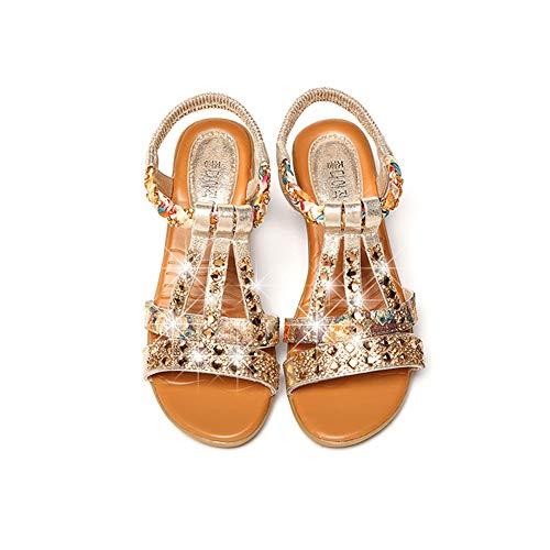 Las Mujeres Sandalias Boho Sandalias con Diamantes de imitación de Cristal de tacón bajo los Zapatos Joya de Verano Playa Ocasional