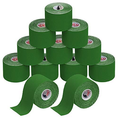BB Sport 12 Rollos Cinta Kinesiología Tape 5 m x 5 cm Cinta Muscular E- Book Ejemplos Aplicación, Color:verde