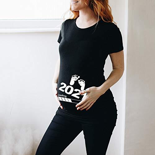 JIACHIHH Baby Loading 2021 Bedrucktes Mutterschafts-T-Shirt Mutterschafts-Kurzarm-T-Shirt,Black