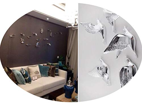 3D Resin Bird Home Decoration Three-Dimensional Wall Decor Wall Stickers, Christmas Decoration Crafts,Silver