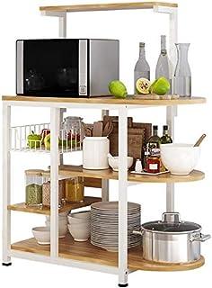DJSMsnj Rangement de cuisine, étagère de cuisine en bois massif, pratique, quatre étages, four à micro-ondes, panier de ra...