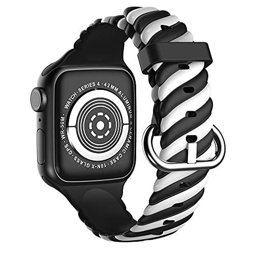 CHENPENG Bandas compatibles con Apple Watch Correa de Repuesto Deportiva de Silicona Suave y Transpirable de Dos Tonos, Correa Vintage Estampada con patrón para Hombres y Mujeres,9,38mm