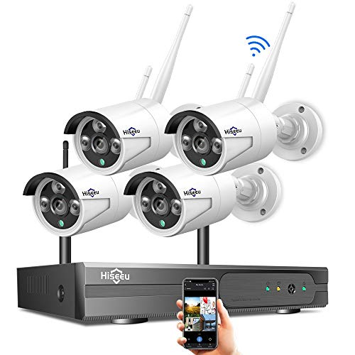 [8CH Expandable] Hiseeu 1080P Wireless Security Camera System with One-Way Audio, 4Pcs Outdoor/Indoor WiFi Surveillance Cameras with HD Video,Night Vision Weatherproof,Motion Detection, No Hard Drive