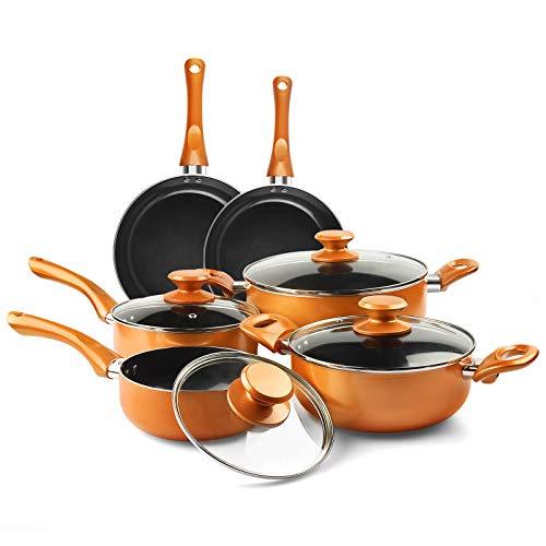 10pcs Cookware Set Non-stick Frying Pans Set Ceramic Coating Soup Pot, Milk Pot, Copper Aluminum Pan with Lid Gas Induction Compatible