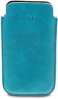 GIUDI ® - Portacellulare in pelle vitello, porta smartphone, vera pelle, Unisex, Made in Italy. (Turchese)