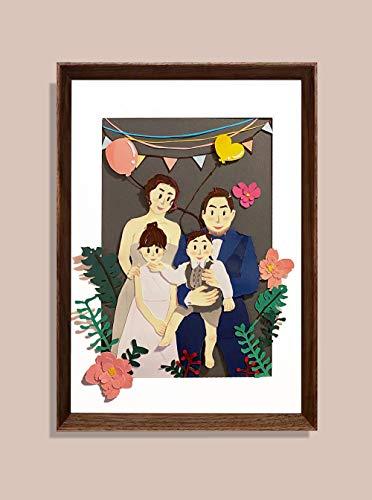 Custom Family Portrait Framed Paper Portrait Family gift Birthday gift Gift for your love