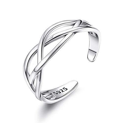 wynn's Solid 925 Sterling Silver Ring for Women, Adjustable Vintage Silver Thumb Ring, Unisex Resizable Celtic Knot Infinity Open Finger Rings, Silver Toe Rings for Women Mens Girls