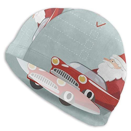 AUHILL Swim Cap Christmas Cartoon Santa Claus in Car Swimming Caps Hat for Women Men Adult Spandex Bathing Caps Long Short Hair Ladies Swim Hat Swimming Accessories Water Sports