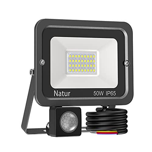 50W Foco LED con Sensor de Movimiento,5000LM Proyector LED Exterior Luz Exterior con Sensor de Movimiento 6000K Foco Exteriorfocos Blanco Frío Foco LED Detector Foco Exterior IP65 Impermeable