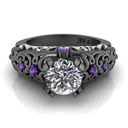 Jbr Art Deco Anillo de plata de ley con diamante solitario de dos tonos inspirado en estilo vintage, regalo para ella con joyería B buey