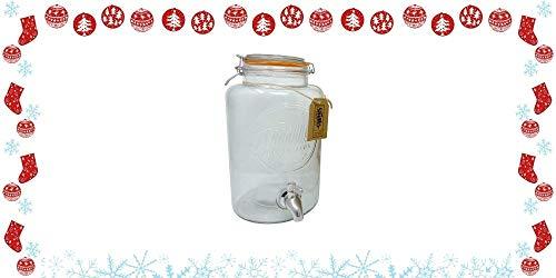 Smith's Mason Jars 5 litros / 1.3 galones dispensador de bebidas, grifo de acero inoxidable sellado / sin malla y sin tapa de vacío con etiqueta de regalo, gran regalo para las fiestas de Navidad