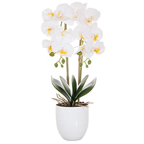 SPRINGOS Künstliche Pflanzen Kunstblumen Orchideen im Topf Kunstblumen Kunstpflanzen mit Blumentopf künstliche Orchideen weiße Orchideen