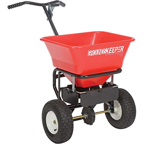 Buyers Products 100 Pound Capacity 1.67 Cubic Feet Groundskeeper Walk Behind Seed, Salt, and Fertilizer Lawn Spreader with Hopper Screen and Rain Cover, Red