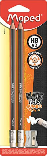 Maped M854741 - Bleistift Black Peps Jumbo mit Radiergummikopf inklusiv Anspitzer, 2 Stück