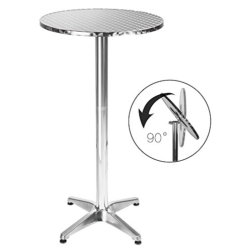 BAKAJI Tavolino in Alluminio per Esterno Pieghevole 60 x 70/110cm Regolabile in Altezza Tavolo Bistrot Ripiano Top in Acciaio Inox Rotondo per Bar Casa Giardino Ristorante Silver