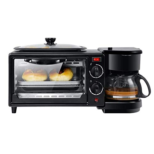 YFGQBCP Horno Máquina de Desayuno de 3 en 1, Fabricante de café multifunción eléctrica para Horno de freír 9l con Bandeja para Hornear para Pan de Pizza Huevo Frito