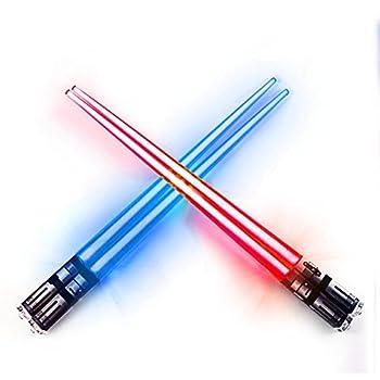 LIGHTSABER CHOPSTICKS LIGHT UP STAR WARS LED Glowing Light Saber Chop Sticks REUSABLE Sushi Lightup Sabers Red and Blue 2 Pairs