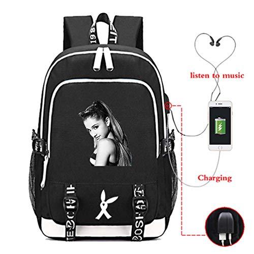 Mcvrv Ariana Grande Bolso de Estudiante con Estampado Impreso Mochila Recargable USB,Black,15