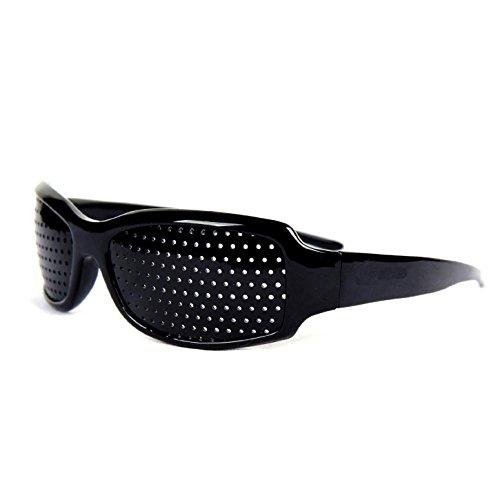 Gearmax® Lochbrille/Rasterbrille zum Augentraining und zur Entspannung, Gitterbrille mit klappbaren (Schwarz)