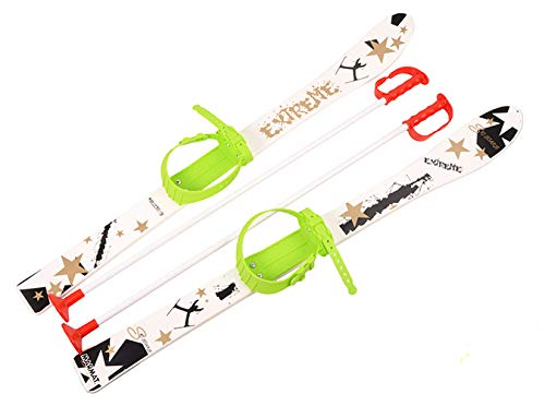 MARMAT KINDERSKI SKI Skier BINDUNG Stöcken Kinder-SKI Kunststoff 5 Farben 90 cm (Weiß)