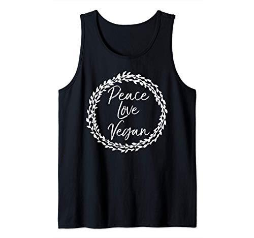 Cute Vegan Gift for Women Floral Design Peace Love Vegan Canotta