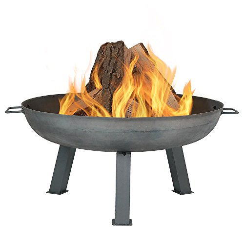 Sunnydaze 30 Inch Fire Pit Bowl - Large Outdoor Bonfire Wood-Burning Pit- Steel Colored Cast Iron - For Outdoor Patio & Backyard Use