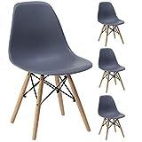 Gr8 Home 4 Retro Eames Inspiriert Sessel Set Plastik Holz