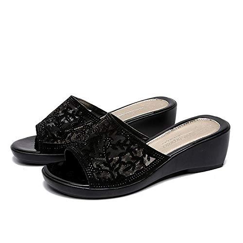 YYFF Chanclas para Adulto Mujeres,Zapatos de Mujer Madre de Moda, Pendientes con Pantuflas Gruesas sin Fondo-Negro_38,Zapatillas de Casa